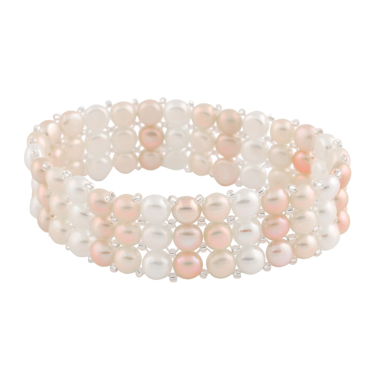 Beautiful Knitted Triple Row Pearl Bracelet