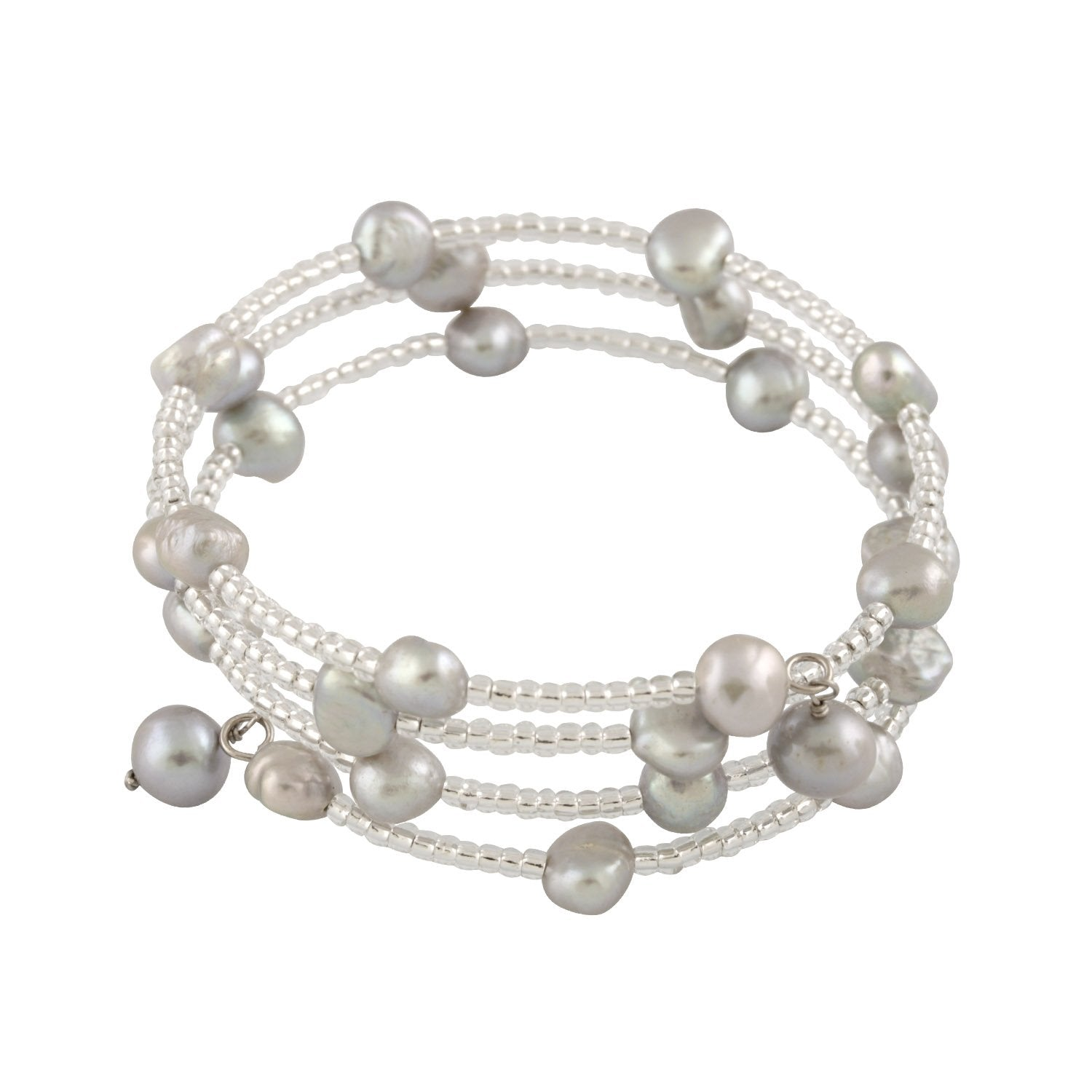 Fancy beaded Pearl Triple Row Bangle