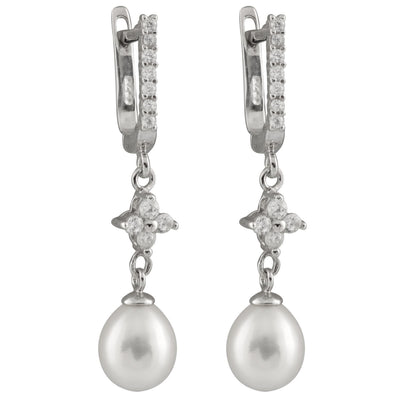 CZ Accented Lustuous White Pearl Earrings
