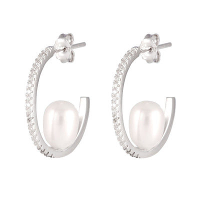 Fancy CZ Pearl Earrings