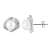 Micropave CZ Pearl Stud Earrings
