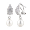 Dangling CZ Cluster White Pearl Earrings