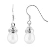 Dangling Silver Pearl Earrings