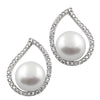Fancy Sterling Silver CZ Pearl Halo Earrings