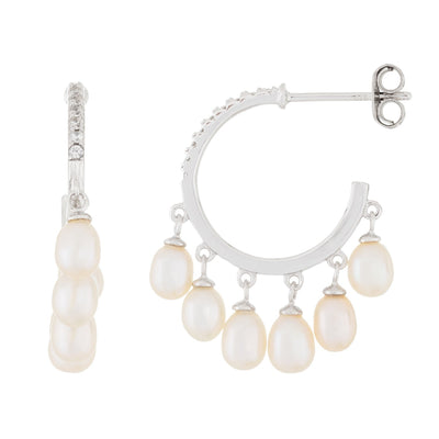 Dangling Multiple Pearl hoop earrings