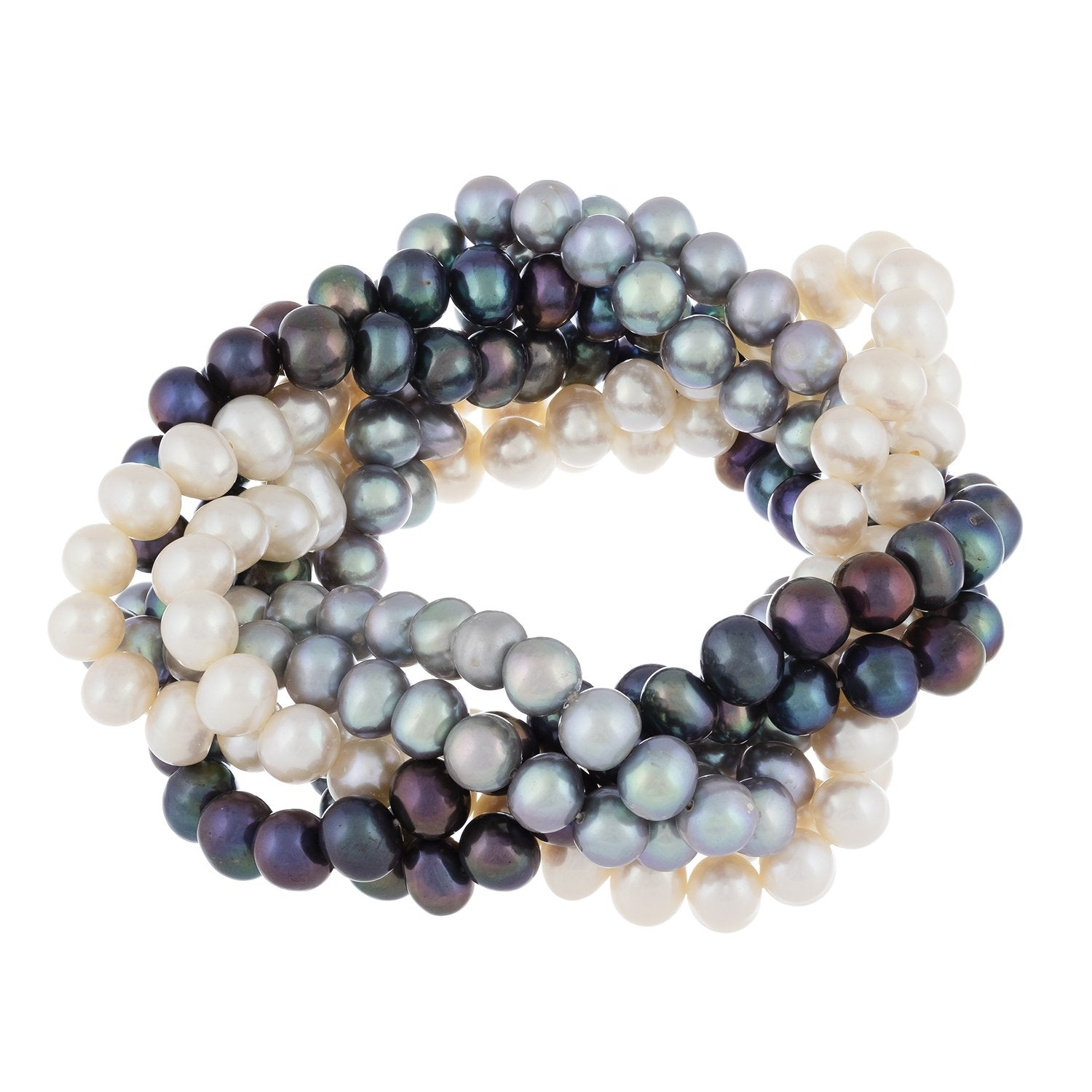 Bright 6 Row Braided Freshwater Pearl Bracelet