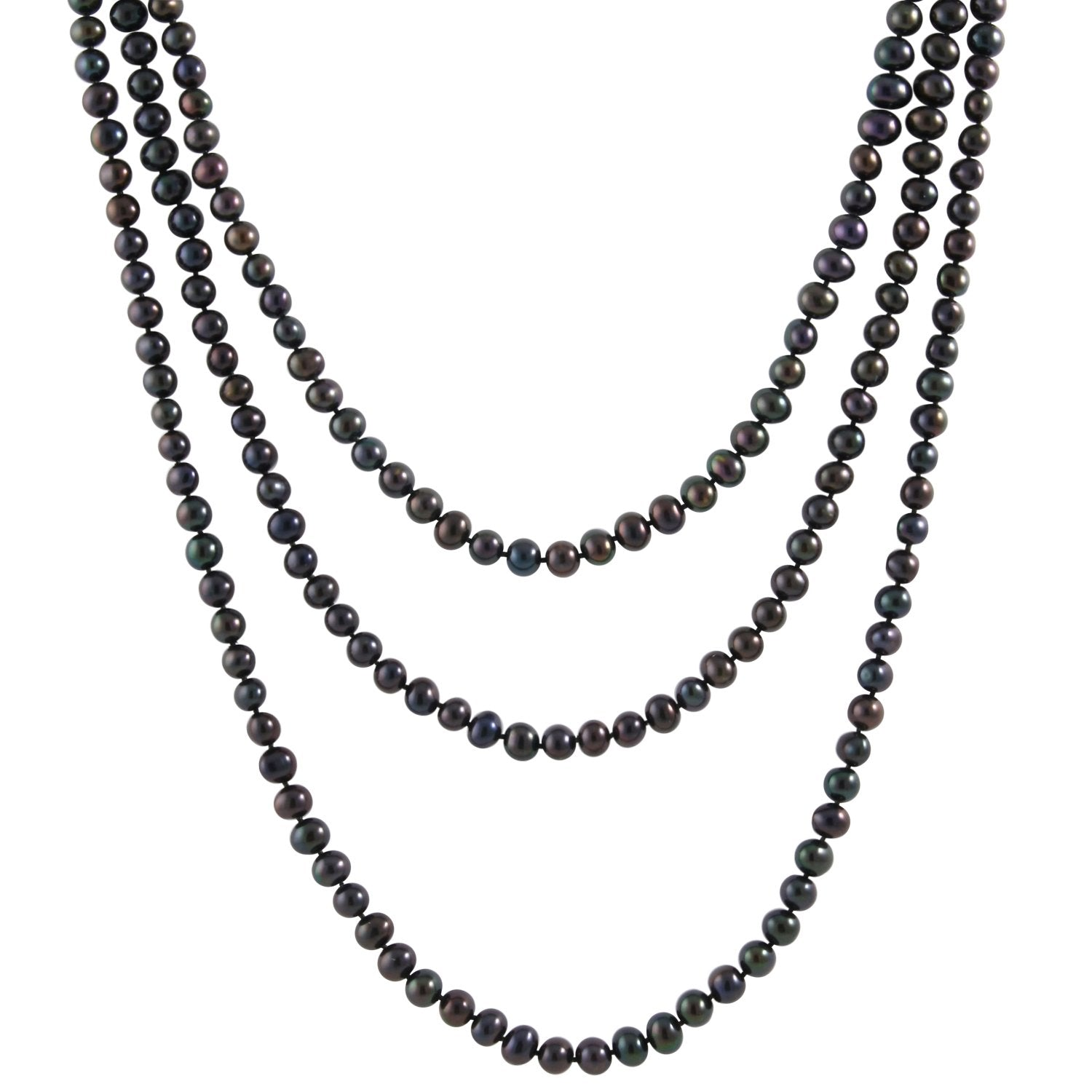 Luminous Black Pearl Endless Necklace