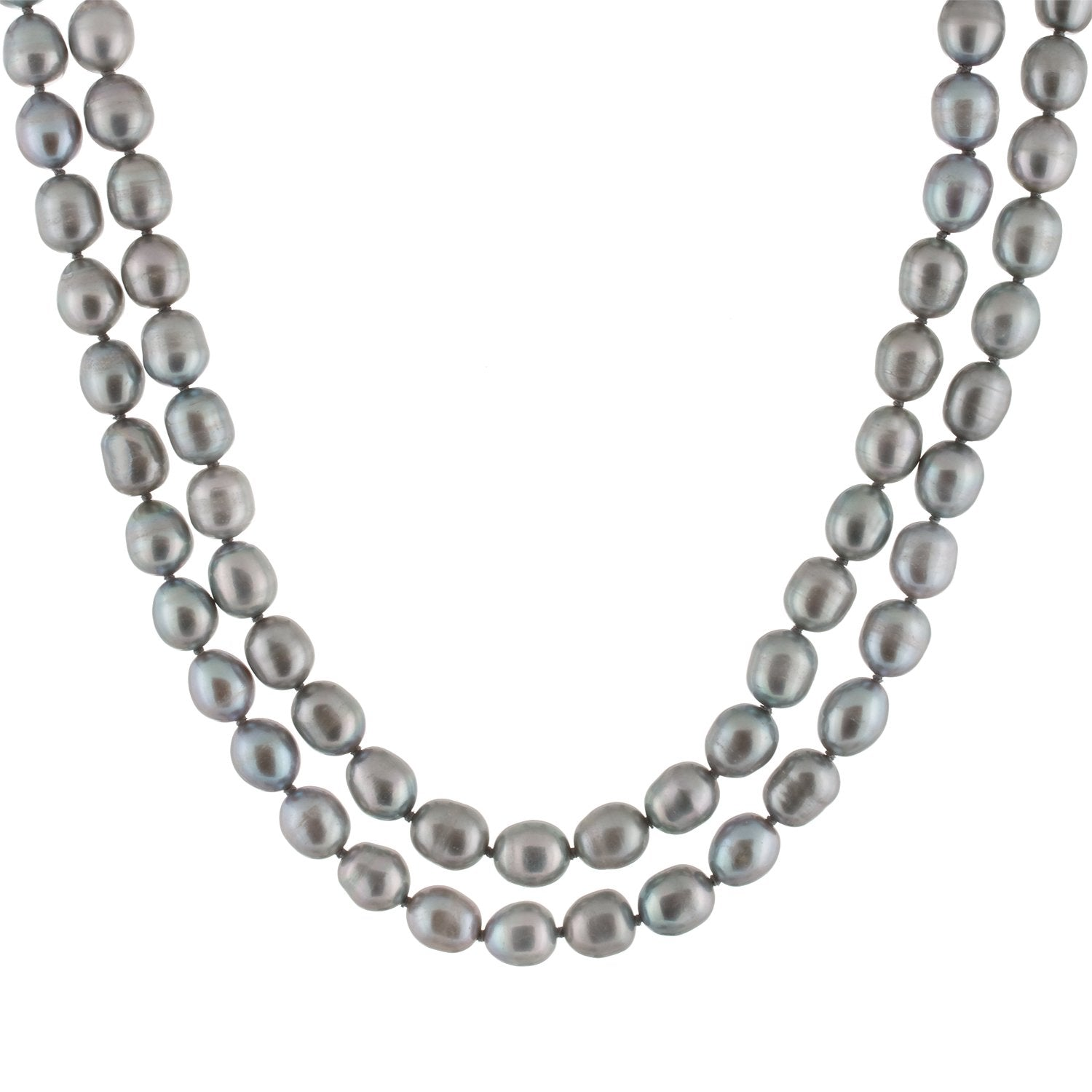 Bright Gray Colored Endless Pearl Necklace