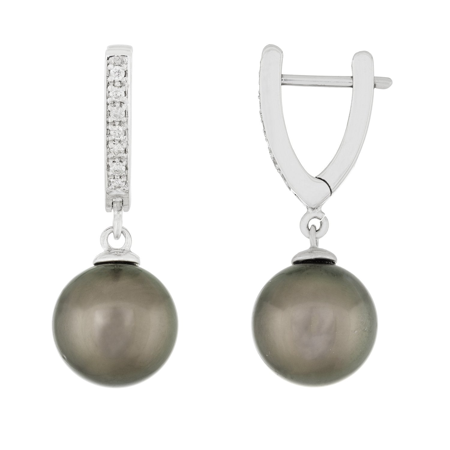 Fancy White Gold Diamond Pearl Earrings