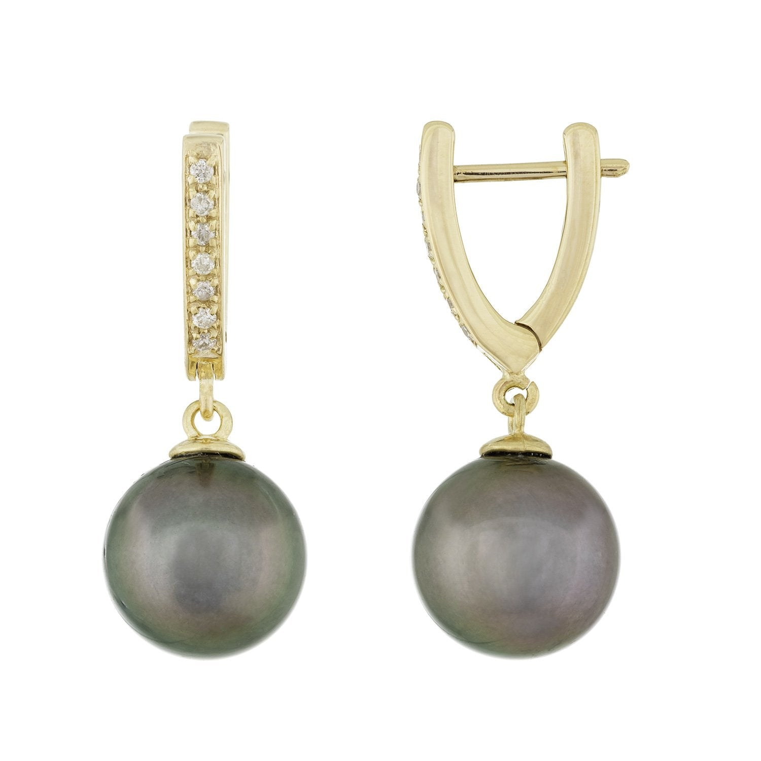 Fancy Yellow Gold Diamond Pearl Earrings