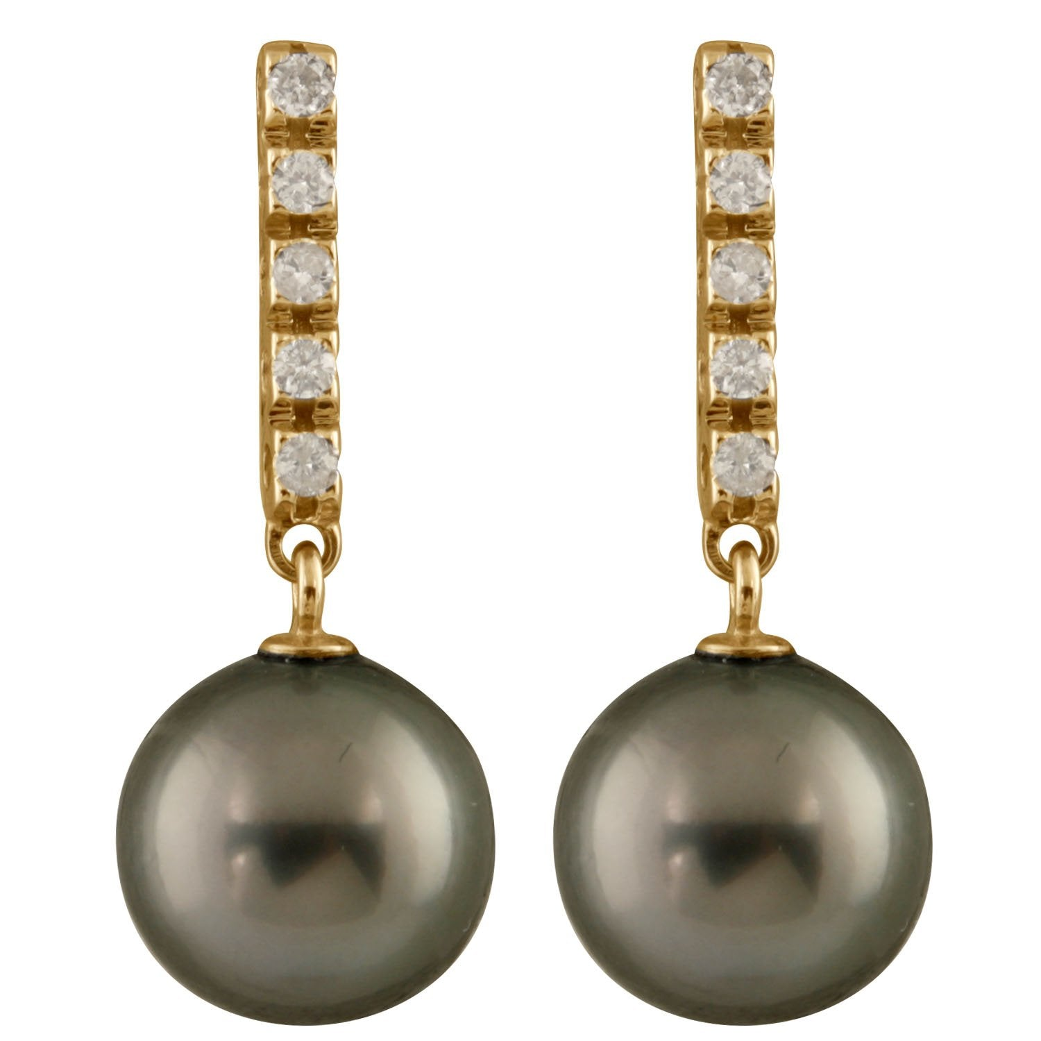 Diamond Encrusted Dangling Pearl Earrings