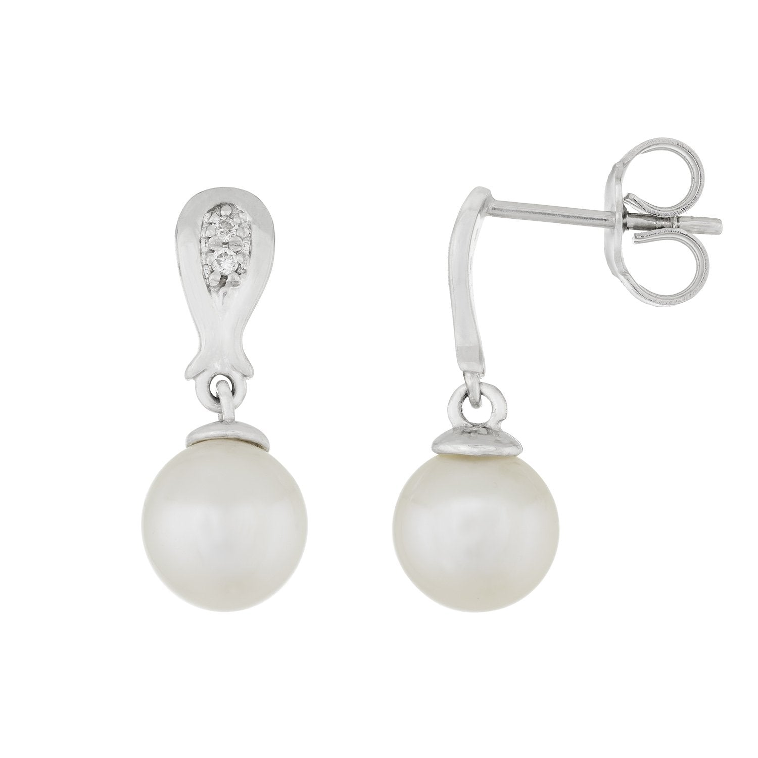 Fancy Diamond Cluster Pearl Earrings