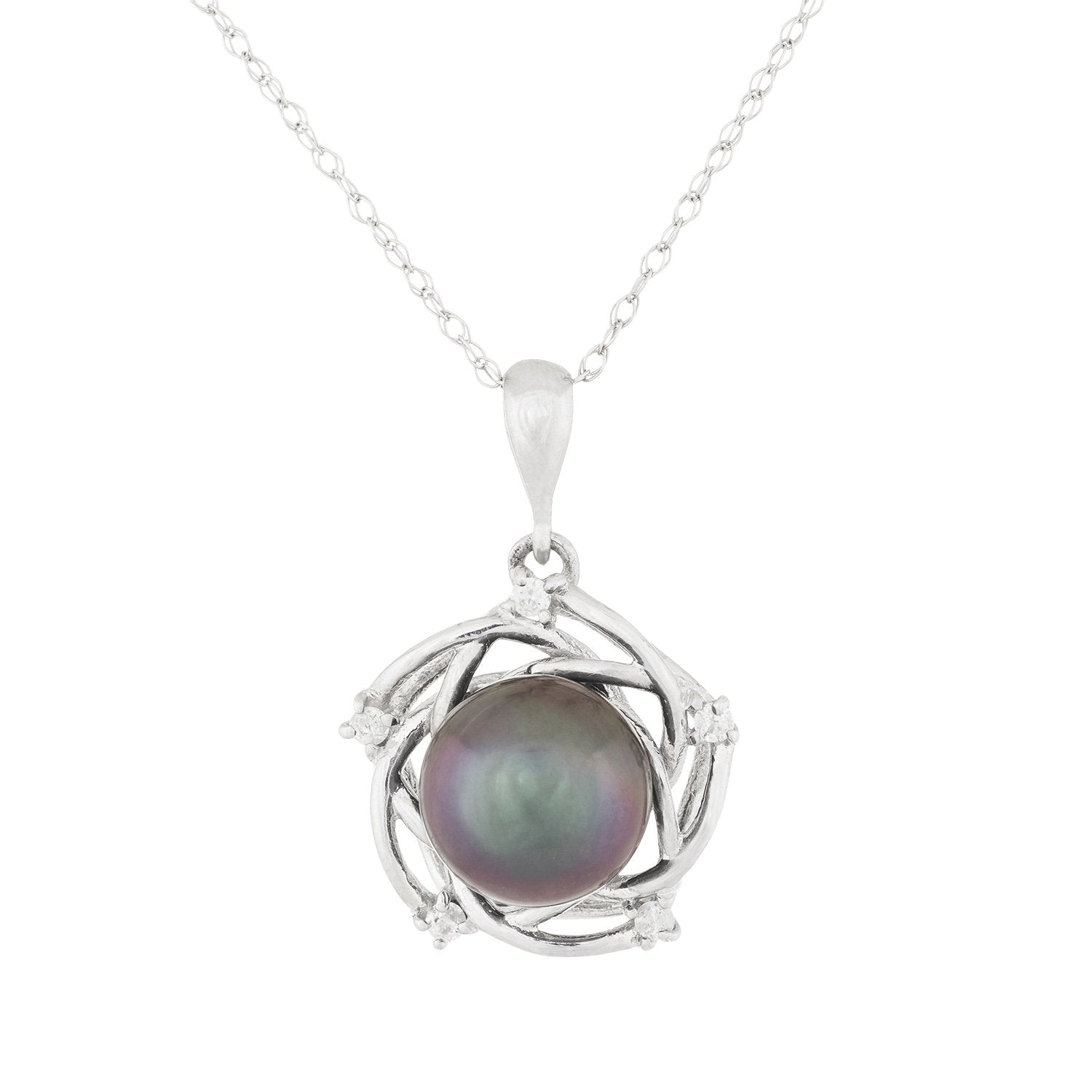 Fancy Diamond Pearl Pendant