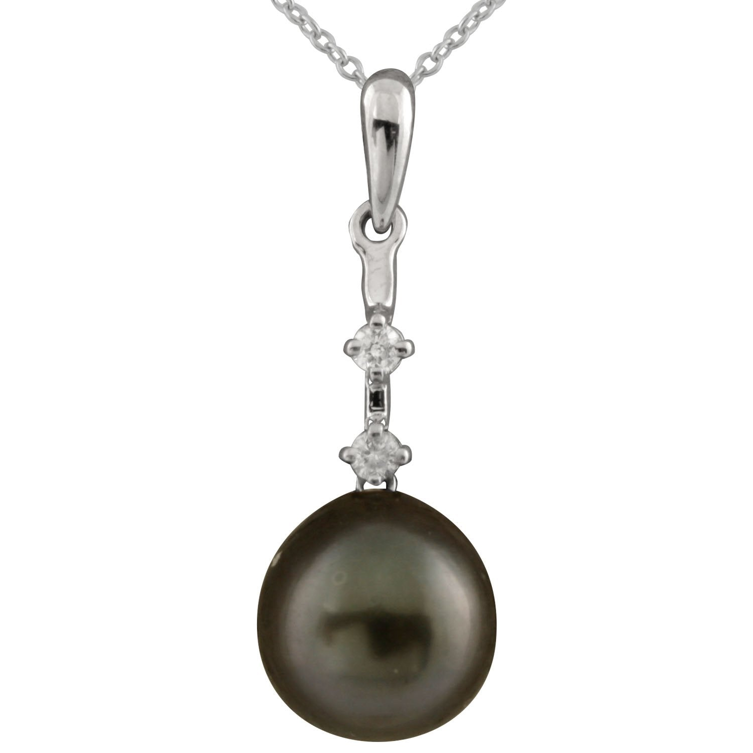 Double Diamond Pearl Pendant