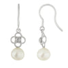 Fancy Diamond Accented Pearl Earrings