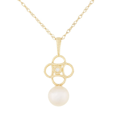 Fancy Diamond Accented Pearl Pendant