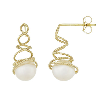 Beautiful Ribbed Gold Pearl Earrings
