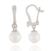 Bezel Diamond Pearl Leverbacks