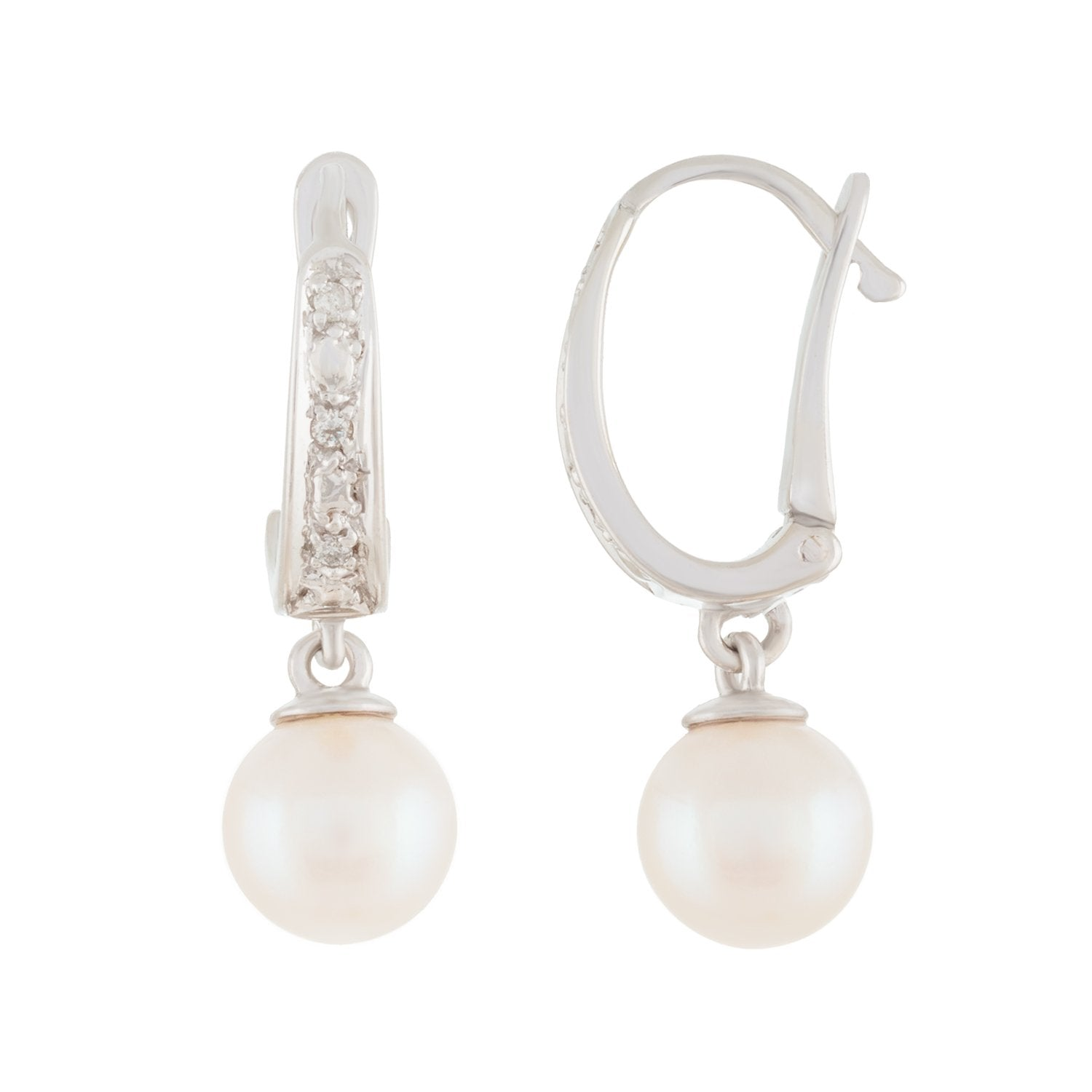 Diamond Leverback Pearl Earrings