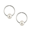 14mm Gold Sleeper Freshwater Pearl Earrings
