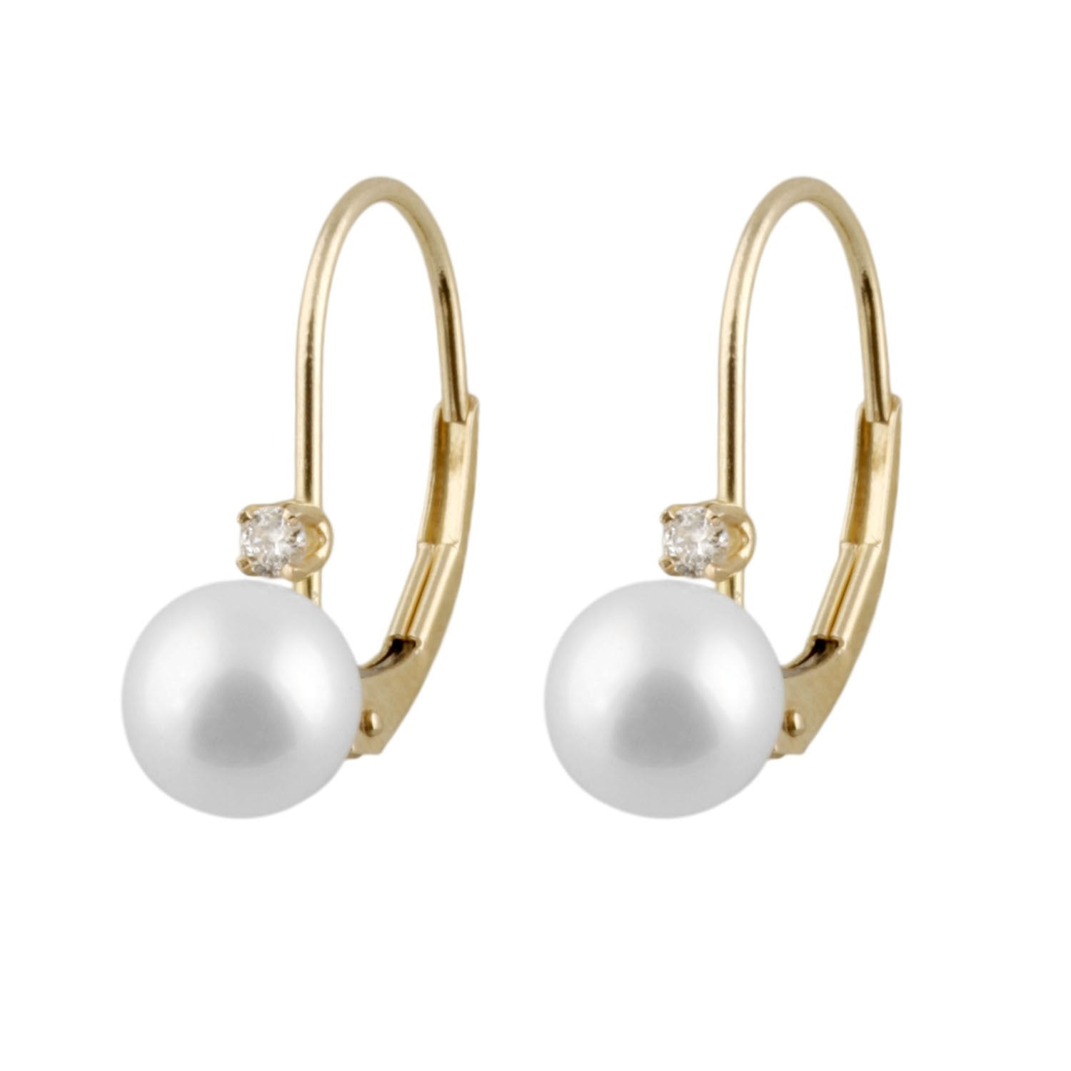 Diamond Accented 14k Akoya Pearl Leverbacks