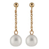Gold Dangling Freshwater Pearl Earrings