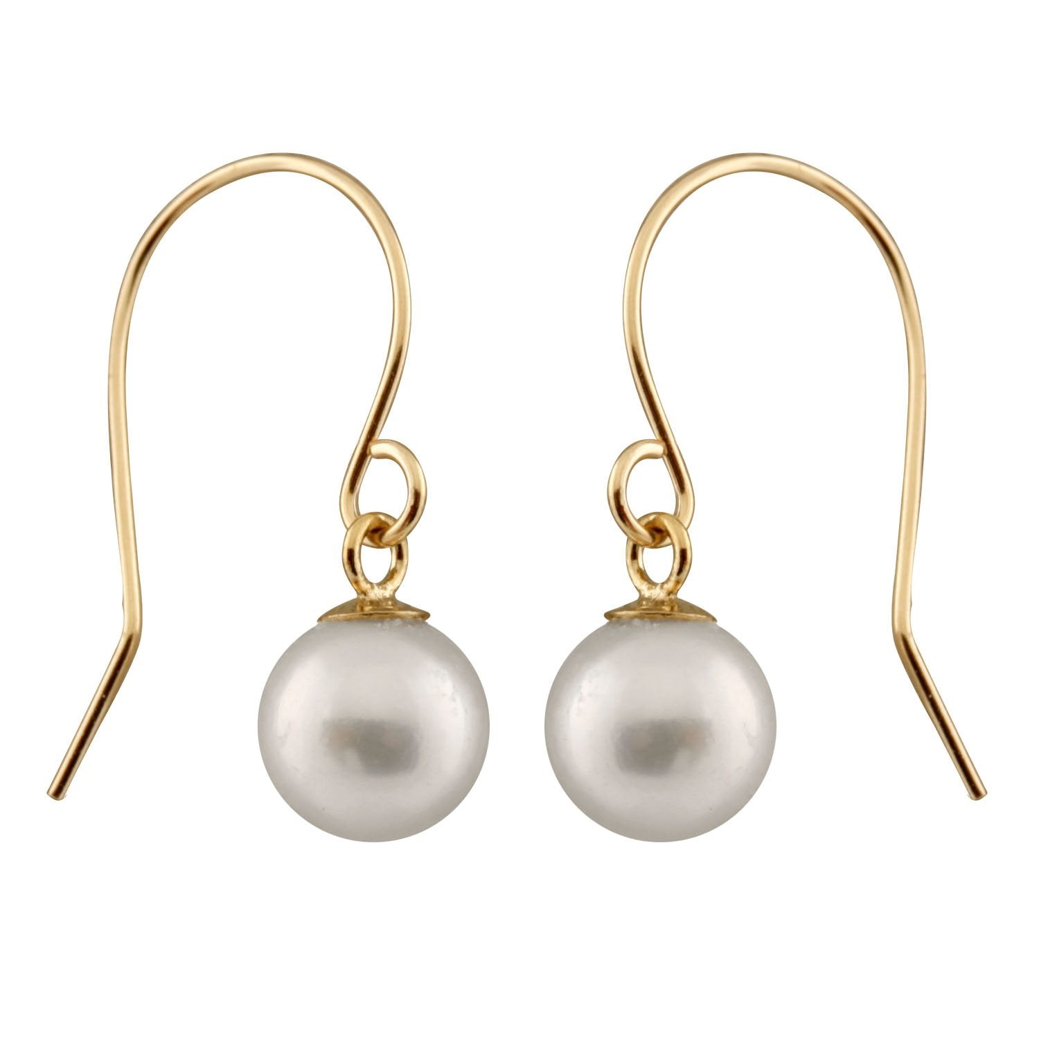 14k Gold Beautiful Hook Pearl Dangling Earrings