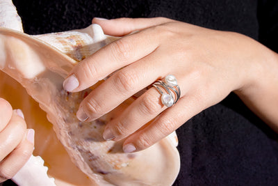 Double Keshi Pearl Fancy Silver Ring