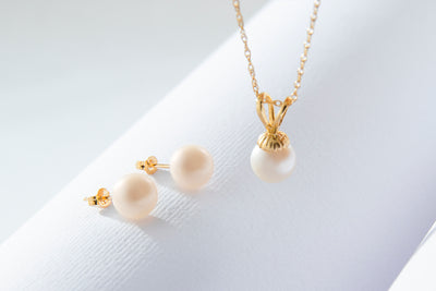 2 Piece Beautiful Gold Pearl Set