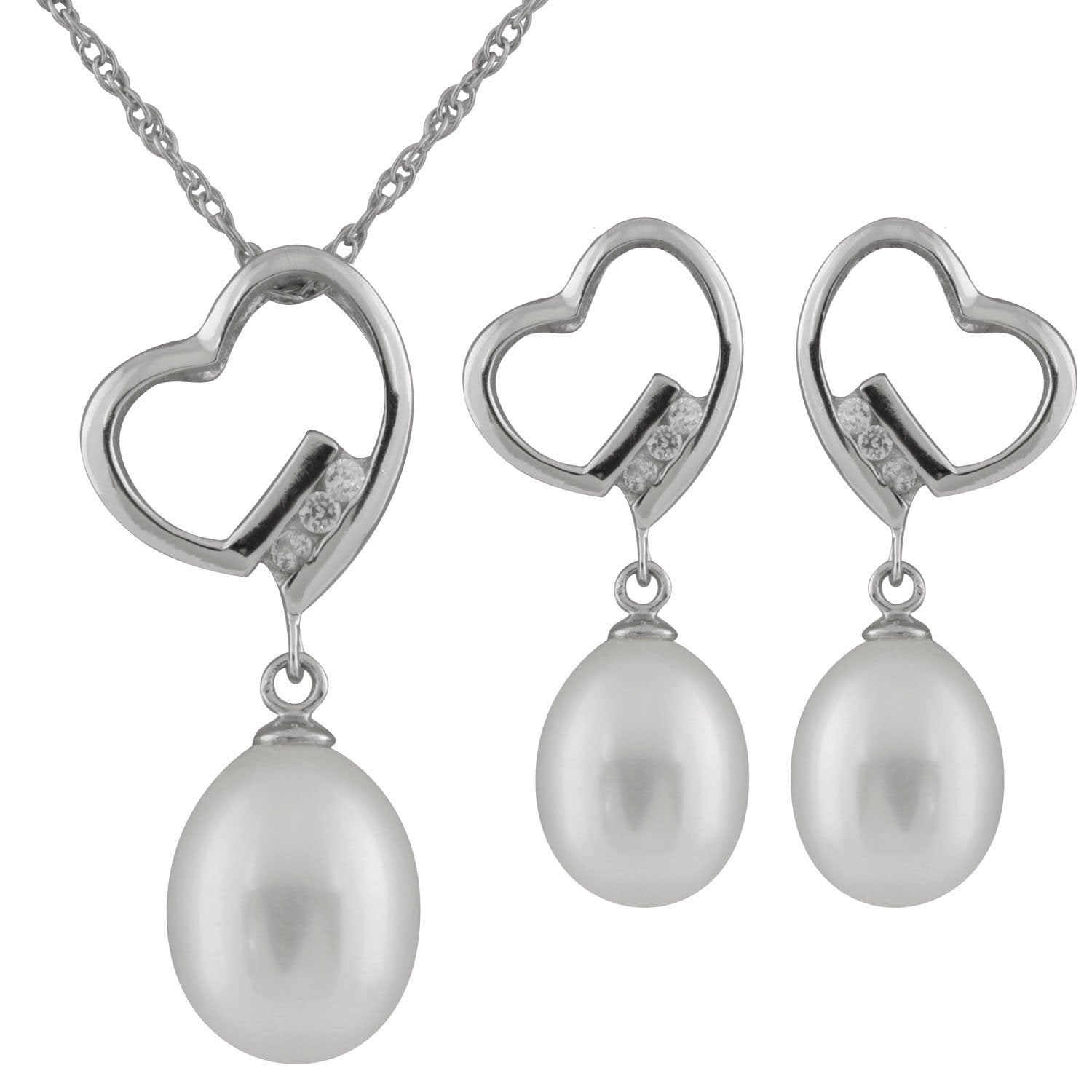 2 Piece Heart Shaped Pearl Set