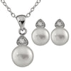 Cubic Accented Pendant and Earring Set