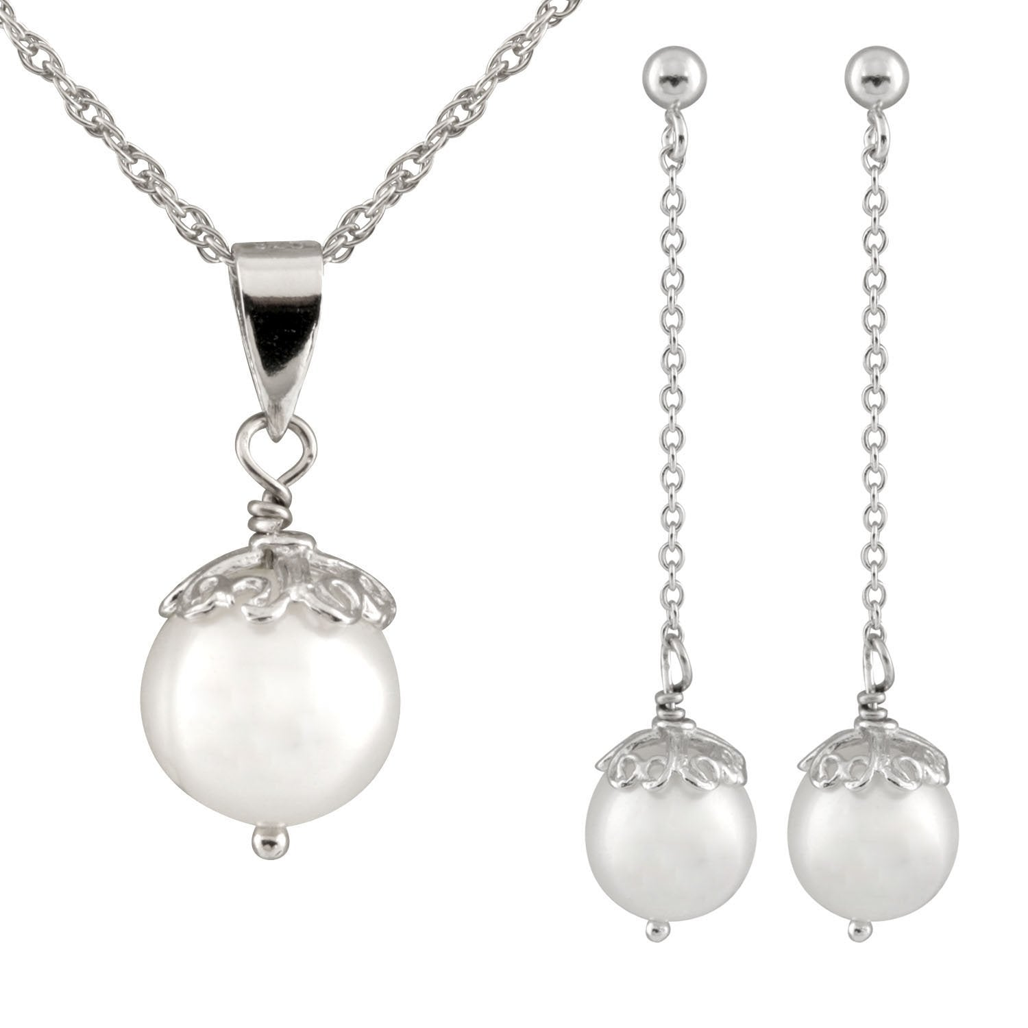 Dangling Silver Pearl 2 Piece Set