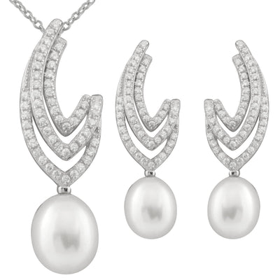 Dangling Micropave Cubic Pearl Set
