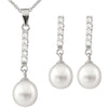 Fancy Dangling Cubic Pearl Set