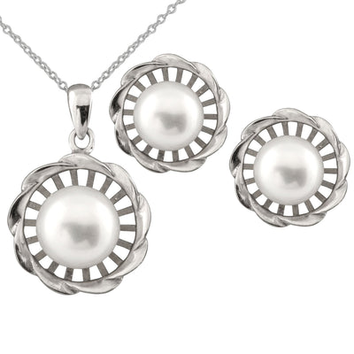 Sterling Silver Pearl Halo 2 Piece Set