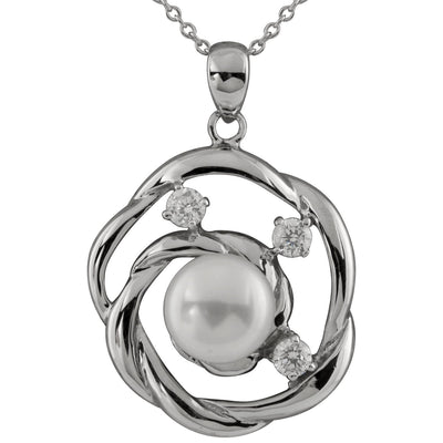 Fancy CZ and Freshwater Pearl Pendant in Silver