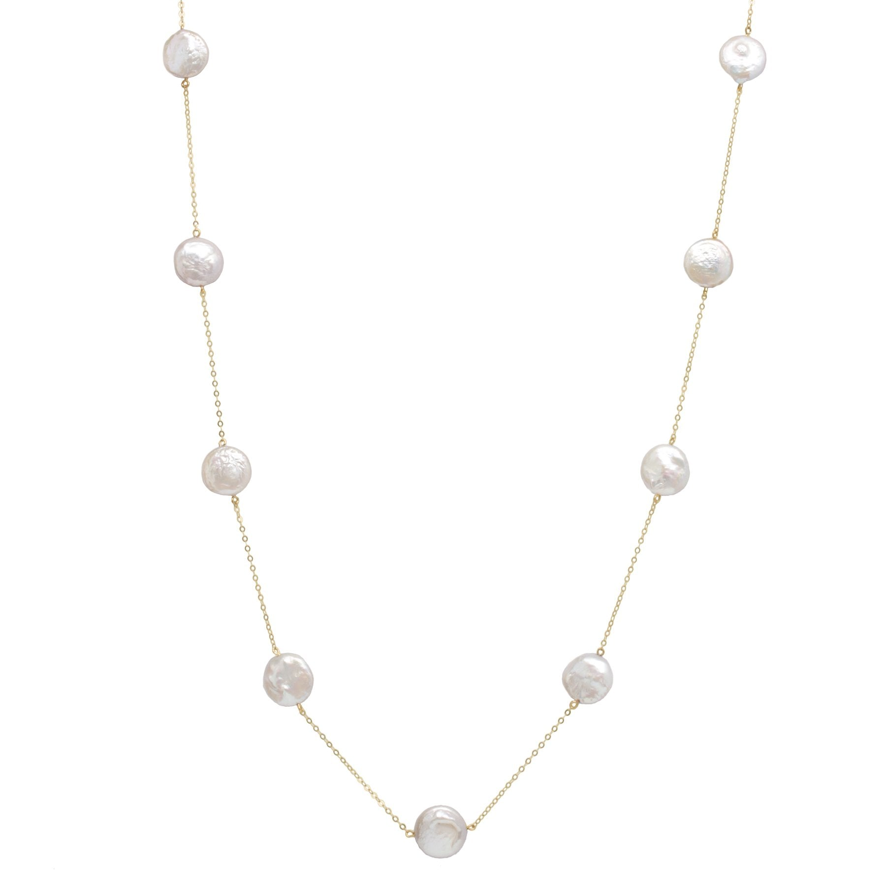 Gold Freshwater Pearl Chain Necklace