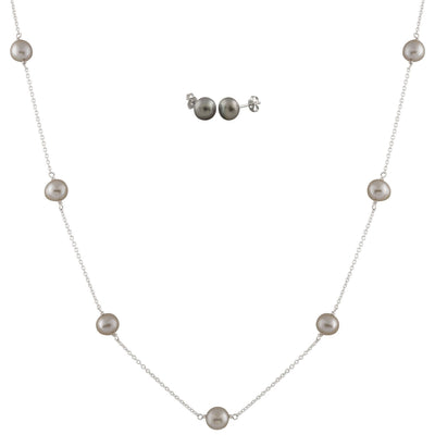 Freshwater Pearl Station necklace Set