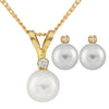 Diamond Accented Akoya Pearl Set