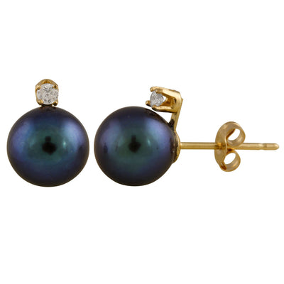 Natural Diamond Accented Freshwater Pearl Studs