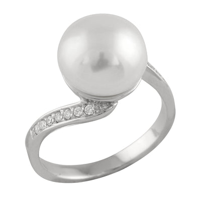 Cubic Designed White Pearl Ring