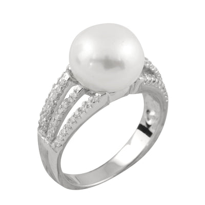 Triple Shank Pearl Cubic Ring