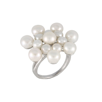Fancy Flower White Pearl Ring