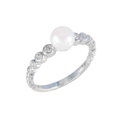 Bezel Cubic Semi Eternity Ring