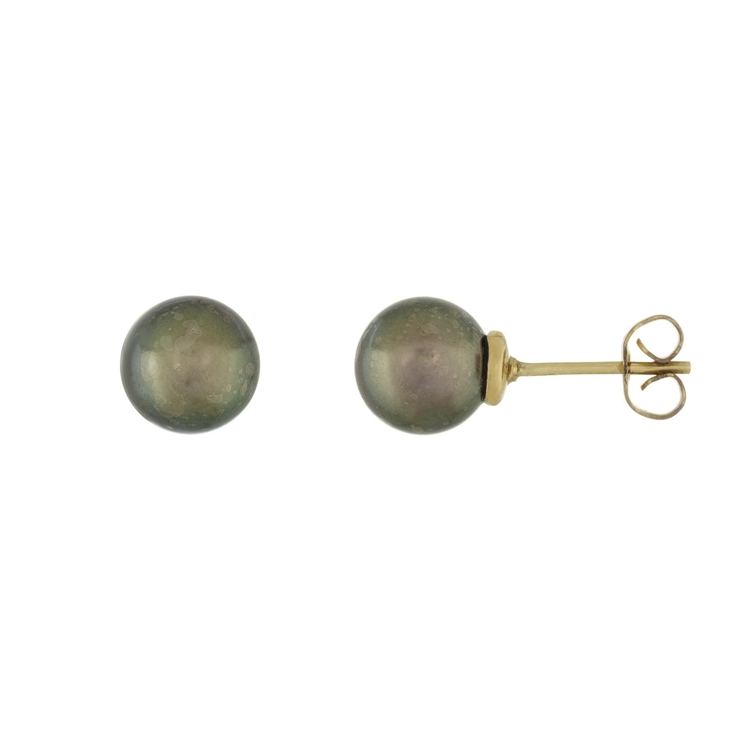 Round Black Akoya Pearl Stud Earrings