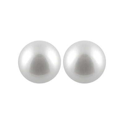 Round White Akoya Pearl Stud Earrings