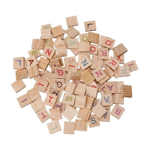 Coloured Wooden Alphabet Scrabble Tiles