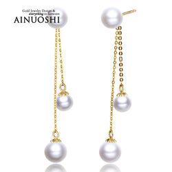 #JW-015-18K Yellow Gold Natural Freshwater Pearl Drop Earrings For Women