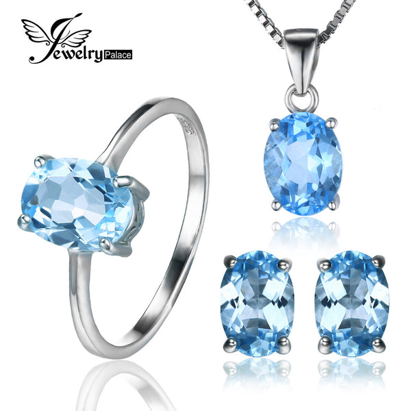 #JW-004-Oval 5.8ct Natural Blue Topaz Ring, Stud Earrings,Pendant Necklace 925 Sterling Silver Set