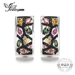 #JW-019-2.1ct Multicolor Genuine Tourmaline Black Spinel Earrings 925 Sterling Silver